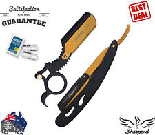 BARBER CUT THROAT SHAVETTE STRAIGHT RAZOR RASOIR TRAVELING CASE, 10 BLADES 2PCS