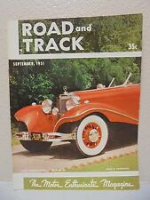 Vintage Road & Track Magazine September 1951 540K Mercedes Benz