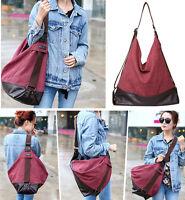 Vintage Women Handbag Casual Canvas Shoulder Bag Leather Buttom Daypack Purse