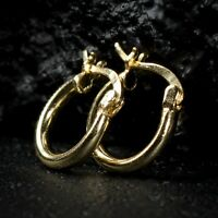 Mens Womens Small 14K Yellow Gold Sterling Silver Vermeil Hoop Huggie Earrings