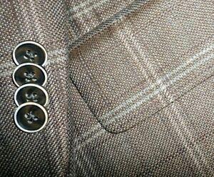 JOSEPH ABBOUD mens WOOL LINEN sport coat BROWN w/ BEIGE PLAID 46R 46 e56 - NEW