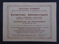 Carte de visite EXHIBITION AERONAUTIQUE CORMIER hydravion dirigeable parachute
