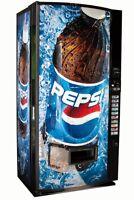Vendo V-MAX Multi Price Soda Vending Machine w/ Pepsi Graphics Cans Bottles V570