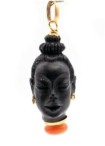 CORLETTO ITALY BLACKAMOOR 18 KT GOLD EBONY CARVING HEAD WITH RED CORAL NICE SIZE