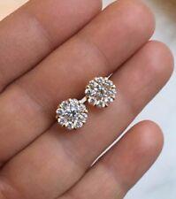 Mens Ladies 14K Gold FN 0.25 Carat D/VVS1 Diamond 9-Stone Cluster Stud Earrings