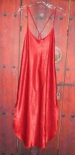 CALIFORNIA MISS WOMEN'S RED SATIN LONG SEXY NIGHTGOWN SIZE L