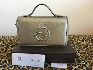 New Gucci Soho Golden Beige Double Zip Leather Travel Wallet 306118 AH90G