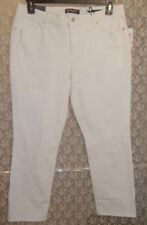 MiracleBody Distressed Cropped Jeans Pants Wide Cuff Lift & Sculpt Slim 12 White
