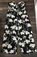 MISS SELFRIDGE Black Yellow Floral Wide Leg Jumpsuit Size 10