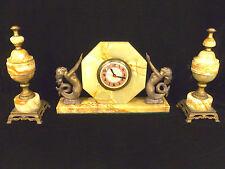ART DECO SESSIONS ONYX MERMAID MANTEL CLOCK SET WITH GARNITURES – CIRCA 1936
