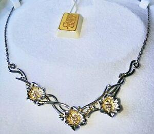 BNIB🛍CLOGAU GOLD St Silver & 9ct Rose Gold Snowdon Lily NECKLACE w DIAMONDS