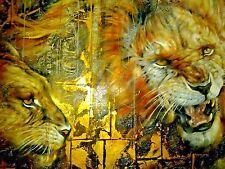 Lions Den painting by Janice Darr Cua  / art work BEDROOM Den Gold GAMEROOM