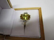 STUNNING ESTATE 14 KT GOLD 5.95 CTW VIVID YELLOW SPHENE AND DIAMOND RING !!!!