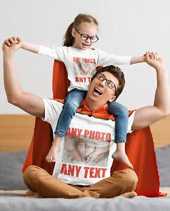 Unisex Men's Women's Kid's T-Shirt Design Personalised Your Photo & Text