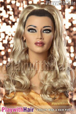 Waved 3/4 Wig Hair Piece Extensions Sandy Blonde HiLite