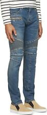 Balmain Faded Zipper Detail Stretch Five-Pocket Skinny Fit Biker Jeans Size 34