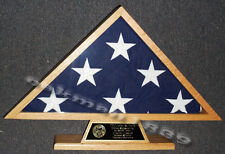 US Veteran Military Burial Funeral Flag Display Case with Free Engraved Plate
