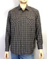 euc Banana Republic men's Black Gray Plaid Check Western Shirt Pearl Snap sz L
