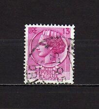 #77 - Repubblica - 13 lire Siracusana (filigrana stelle), 1955 - Usato / Varietà