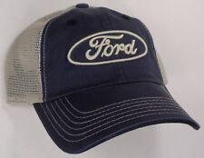 Hat Cap Ford Oval Light Tan Mesh Dark Blue CF