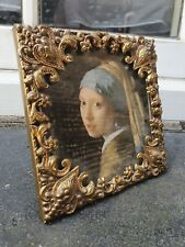 """ANTIQUE STYLE GOLD PLATED METAL PHOTO  PICTURE SQUARE FRAME  4 3/4""""W x  4 3/4""""D"""