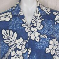 Vtg Royal Creations Hawaiian Aloha Shirt Size Large Blue White Floral