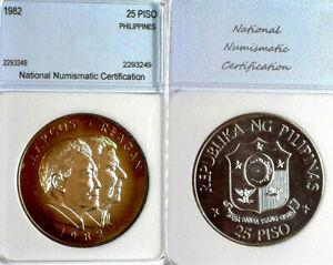 Philippines 1982 25 Peso Rare GEM Specimen Strike, Mintage 8,000, Silver.