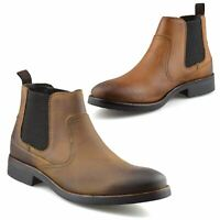 Mens Ikon Leather Chelsea Ankle Boots Casual Smart Formal Dealer Work Shoes Size