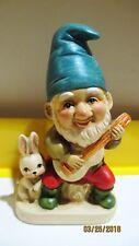Vintage Homco Elf Gnome Figurine Playing Music with Bunny Rabbit