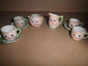 Wonderful old original set of Cute Doll Faces miniature Coffee - Tea Set 1920's