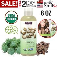 Castor Oil 100% Pure 8oz Organic Cold Pressed Hair Skin Eyelashes Eyebrows Care