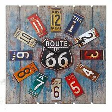 Wall Clock Large Antique Aged Rustic Style Route 66 Design New Oversized Clocks