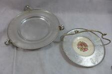 Vintage Triumph Farberware Etched Aluminum Tray  Limoges 22 K Plate & Lg Platter