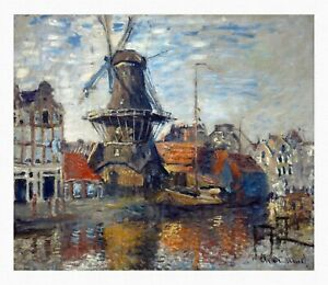 MONET The Windmill on the Onbekende Gracht Giclee Fine Art Canvas Print