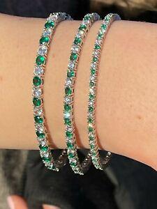 Tennis Bracelet SOLID 925 Sterling Silver Single Row Diamond & Green Emerald