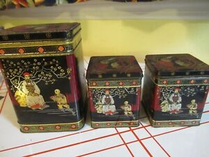 ASIAN TINS CANISTERS CANS LOT OF 3 BLACK GOLD RED