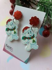 Christmas Care Bears Style Dangle Earrings, Surgical Stud, Red Glitter Acrylic 2
