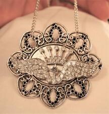 Rhinestone Angel Wings Silvertn Brooch Handsome Large Heart Petal Rimmed Crowned