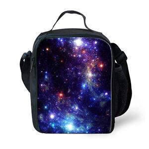Blue Galaxy Lunch Bag Outdoor Picnic Food Cooler Box Kids School Shouler Bags