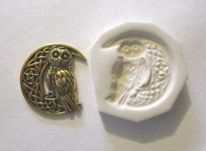 "Celtic Moon Pentagram Star Owl Hard Polymer Clay Push Mold DIY Jewelry 1-1/4"""