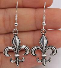 """925 Silver Plated Hook -1.9"""" Fleur-De-Lis Flower Noble Women Party  Earrings #61"""