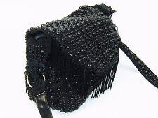 Vintage 60's LE JULE Black Beaded Fringe Hippie Boho Shoulder Bag Purse