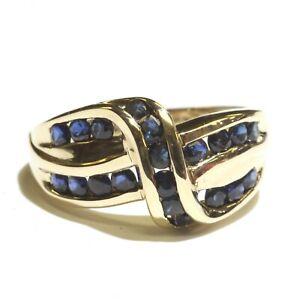 14k yellow gold blue sapphire gemstone band cluster ring 4.8g estate vintage 6