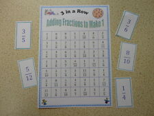 Teaching Resources - Numeracy - Adding Fractions to make 1 - 3 in a Row Game