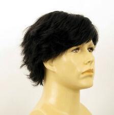 Perruque homme 100% cheveux naturel noir ref REMI 1b