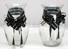 Glass Decorative Large Hurricane Newborn Infant Baby Themed Vases - Set of 2