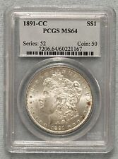 1891 CC  Morgan Silver Dollar – PCGS- MS64  Better Date  Great Detail - Lot 59
