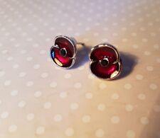 Enamel Poppy Earrings Studs