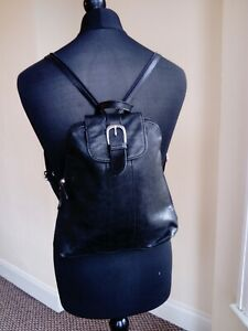 Womens Black Real Leather Thin Bag Backpack School Office Small Size
