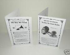 Busy Bee Grand Gramophone Phonograph (2 OFF)  Instruction Manuals Reproductions